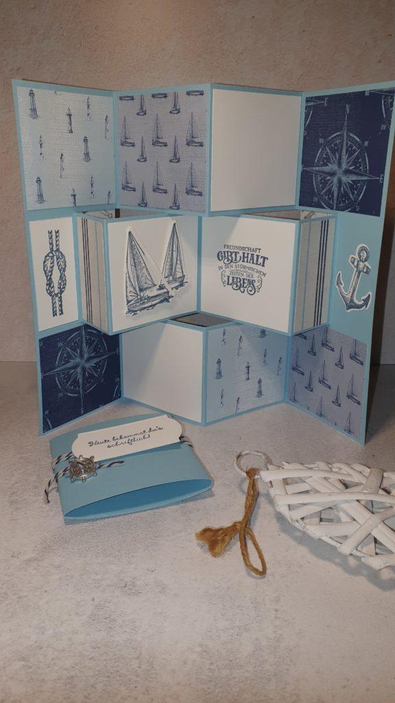 Catch the Sketch #95 Flipbookcarte mit dem Set Setz die Segel in den Farben Babyblau, Flüsterweiß und Marine